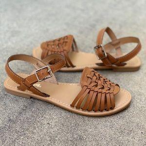 SODA Tan Women Weave Huarache Strap Sandal
